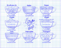 Calao de plan de café, milk-shake, moka, borgia, latte, Irlandais, mazagr Photos libres de droits