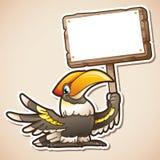 Calao tenant le signe Photographie stock libre de droits