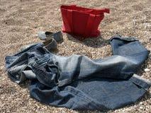 Calças de brim e saco Foto de Stock Royalty Free