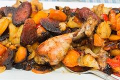 Calças justas Roasted da galinha com vegetais Imagens de Stock