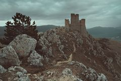 Calascio castle royalty free stock photo