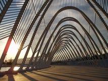 Calatrava's sunset. Sunset over the Calatrava's designed arcs Stock Images