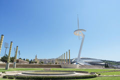 Calatrava's telecommunications tower and Palau Sant Jordi Stock Images