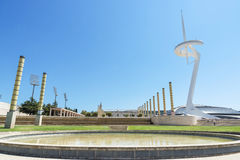 Calatrava's telecommunications tower and Palau Sant Jordi Stock Image