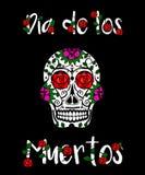 Calavera черепа сахара Мексиканский день мертвой иллюстрации вектора Поздравительная открытка Dia de los Muertos, знамя Стоковые Изображения