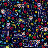 Calavera cats and sugar skills. Seamless pattern with calavera cats and sugar skills for Day of the Dead, Dia de los Muertos Stock Image