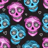 Calavera teckendiameter de los muertos Mexicansk dag av dödaen seamless modell Kvinna för illustration för vektorhand darwing och stock illustrationer