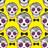Calavera teckendiameter de los muertos Mexicansk dag av dödaen seamless modell Man för illustration för ljus vektorhand darwing stock illustrationer