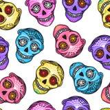 Calavera teckendiameter de los muertos seamless modell Mexicansk dag av dödaen Kvinna för illustration för vektorhand darwing och stock illustrationer
