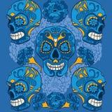 Calaveras mexicanos con los ornamens del merigold stock de ilustración