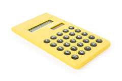 Calc. One yellow calculator on white background Stock Photos