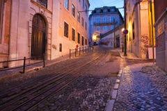 Calcada da Gloria Street at Dusk in Lisbon Royalty Free Stock Image