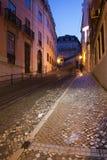 Calcada da Gloria Street at Night in Lisbon Stock Photo