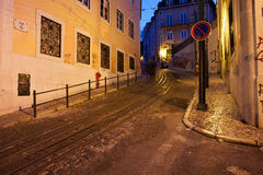 Calcada da Gloria Street at Night in Lisbon Stock Image