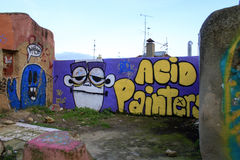 Calcada gör den Lavra gatan i Lissabon med dess grafitti och ingen a Fotografering för Bildbyråer