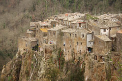 Calcata, Italy - February 28, 2010: panoramical view of Calcata' royalty free stock image