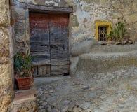 Old door in the village of Calcata stock photos