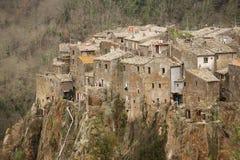Calcata Włochy, Luty, - 28, 2010: panoramical widok Calcata Obraz Royalty Free