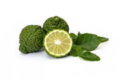 Calce del Kaffir, frutta del bergamotto su fondo bianco fotografia stock libera da diritti
