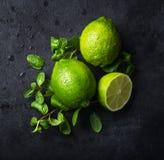 Calce e menta verdi fresche su fondo nero fotografie stock libere da diritti
