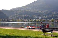 View of Calceranica al Lago seen from the shores of Lake Caldonazzo. Trentino Alto Adige. Calceranica al Lago is a village in Upper Valsugana, in the autonomous stock photo