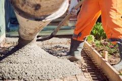 Calcestruzzo che versa durante i pavimenti concreting commerciali di costruzione fotografie stock