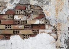 Calcestruzzo e muro di mattoni distrutti Immagini Stock