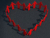 Calcestruzzo rosso del cuore dell'uomo d'affari Immagine Stock