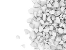Calcestruzzo rotto su priorità bassa bianca Fotografia Stock Libera da Diritti