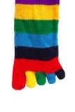 Calcetín arrugado rayado multicolor alegre con los fingeres aislados en blanco Imagen de archivo