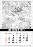Calcetín con los regalos, calendario de la Navidad octubre de 2019 stock de ilustración