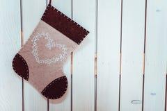 Calcetín decorativo de la Navidad y del Año Nuevo Foto de archivo libre de regalías