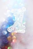 Calcetín del dibujo con los fondos del bokeh para el día de la Navidad Imagen de archivo