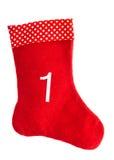 Calcetín rojo de la Navidad para los regalos media Símbolo del advenimiento Fotos de archivo