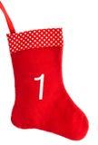 Calcetín rojo de la Navidad para los regalos. símbolo del advenimiento Foto de archivo