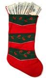 Calcetín vertical del dinero rojo y verde Fotos de archivo libres de regalías