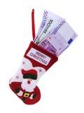 Calcetín y euro de la Navidad Foto de archivo