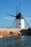 Calcetera windmill. Is a typical mill located in the Salinas de San Pedro del Pinatar, in Murcia, Spain Stock Image