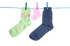 Calcetines colgantes Imagen de archivo libre de regalías