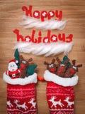 Calcetines de la Navidad Decoración, Papá Noel y ciervos de la nieve de Navidad Juguetes Fotos de archivo