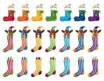 Calcetines de la Navidad del arco iris Imágenes de archivo libres de regalías