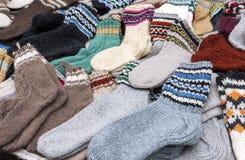 Calcetines de lana coloridos Fotografía de archivo