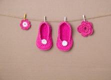 Calcetines hechos a mano del bebé Fotografía de archivo