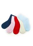 Calcetines lindos del color aislados en blanco Fotos de archivo