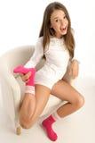 Calcetines que desgastan de la mujer Imagen de archivo