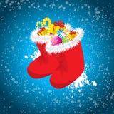 Calcetines rojos del Año Nuevo Imagenes de archivo