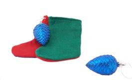 Calcetines y conos de la Navidad Foto de archivo libre de regalías