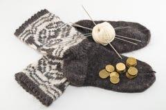 Calcetines y dinero de las lanas Imagenes de archivo