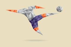 Calciatore astratto di forma, poligonale. Fotografia Stock