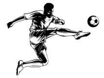 Calciatore che dà dei calci alla sfera illustrazione dello sport illustrazione di stock